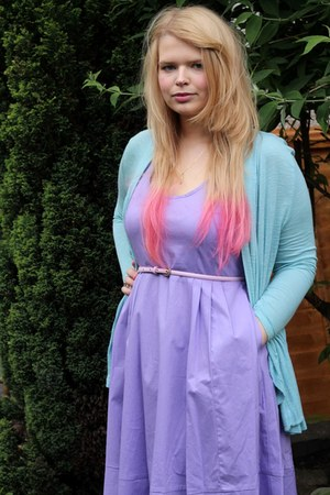 light blue H&M cardigan - light purple Matalan dress - light pink Matalan belt