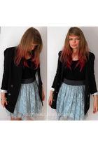 blue Primark skirt - black Primark blazer - black Tuchuzy top - white asos neckl