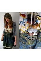 silver Shrinking Violet cardigan - green joe browns dress - brown asos necklace