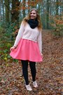 Salmon-dress-light-pink-sweater-black-scarf-light-pink-pumps