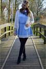 Black-boots-sky-blue-skirt-light-blue-top-white-cardigan