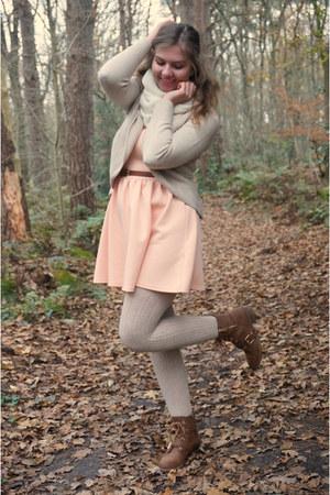brown boots - peach dress - beige tights - white scarf - beige cardigan