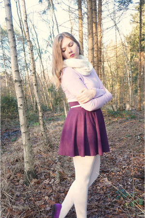 light purple sweater - white tights - white scarf - magenta flats