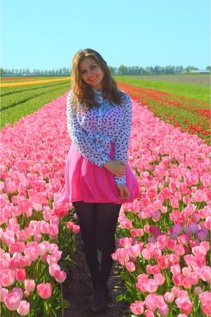 black boots - hot pink dress - white blouse - bubble gum necklace