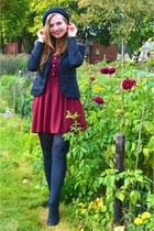 black boots - maroon dress - black hat - black blazer