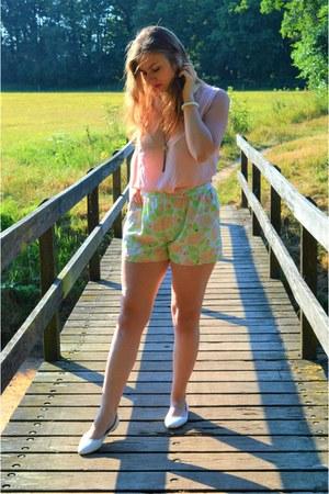 lime green shorts - light pink top - white flats - white bracelet