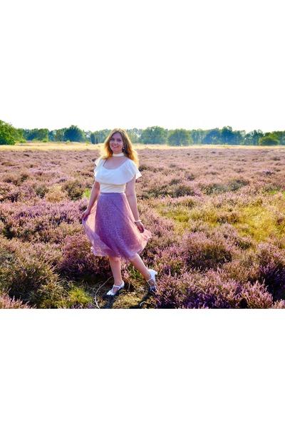ivory top - light purple skirt - white pumps - white bracelet