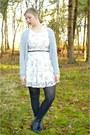 Black-boots-white-floral-dress-silver-cardigan-black-belt