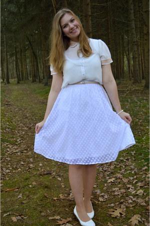 white blouse - white pumps - white midi skirt - peach belt - white bracelet