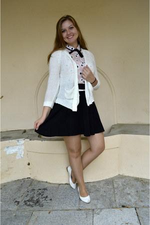 white cardigan - black dress - light pink blouse - white pumps - white belt
