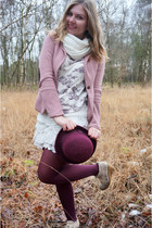 white scarf - pink blazer - maroon tights - beige wedges - off white top