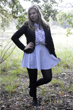 black blazer - black tights - white blouse - black pumps - light blue skirt