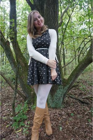 white tights - bronze boots - black dress - beige cardigan - white belt
