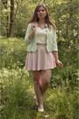 Aquamarine-blazer-white-lace-top-white-pumps-light-pink-skirt