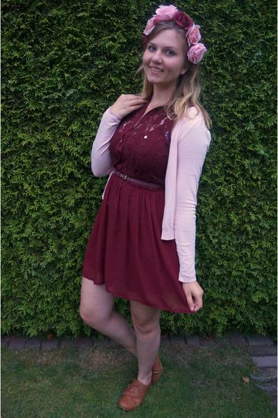 df3ff788c0 maroon dress - bronze shoes - light pink cardigan - light pink hair  accessory