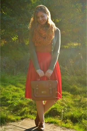 brown shoes - tawny scarf - brown bag - dark green cardigan - bronze top