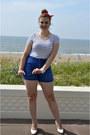 Blue-sunglasses-white-bracelet-white-pumps-blue-hot-pants