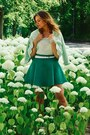 Aquamarine-blazer-green-skirt-white-top-white-belt-white-bracelet