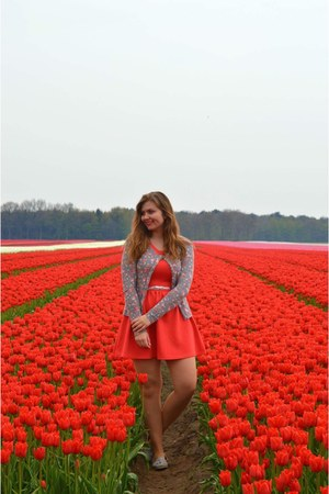 red dress - army green cardigan - silver loafers - silver belt