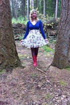 red boots - white flower dress - black tights - blue cardigan
