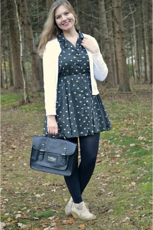 black dress - black purse - white cardigan - beige wedges