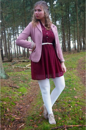 pink blazer - brick red dress - white tights - white belt - beige wedges
