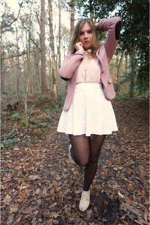 pink blazer - dark brown tights - white skirt - light pink blouse - beige wedges