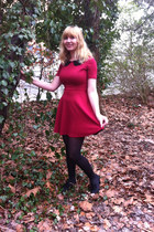 ruby red dress - black tights - black heels