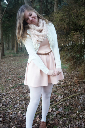 brown shoes - peach dress - white tights - light pink scarf - white cardigan