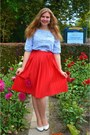 Light-blue-blouse-red-skirt-white-pumps-white-necklace-white-bracelet
