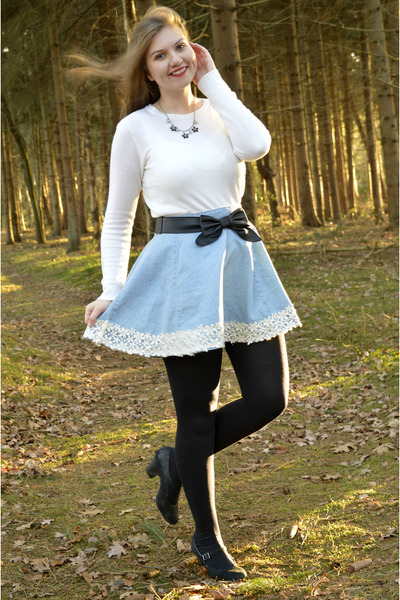 Black Tights White Sweaters Light Blue Denim Skirts