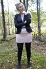 Black-blazer-black-tights-light-pink-skirt-white-striped-top