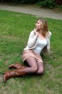 Dark-brown-boots-black-tights-camel-skirt-white-top-beige-cardigan