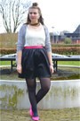 Silver-cardigan-white-top-black-skirt-hot-pink-flats-silver-necklace