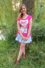 Bronze-shoes-hot-pink-t-shirt-light-blue-skirt-hot-pink-bracelet