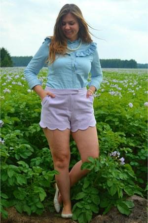 light blue shirt - white shoes - light purple shorts - white necklace