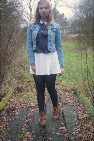 navy tights - brown boots - turquoise blue denim jacket - navy polka dots top