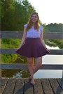 Periwinkle-top-magenta-skirt-purple-pumps-purple-bracelet