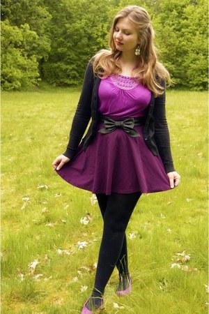 amethyst top - magenta skirt - black cardigan - black belt - amethyst flats