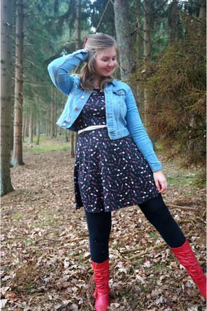 red boots - black dress - blue jacket - white belt