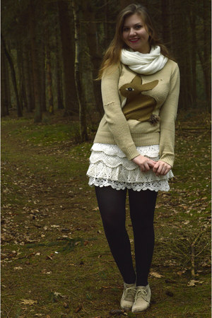 white scarf - beige sweater - black tights - beige wedges - white knitted skirt