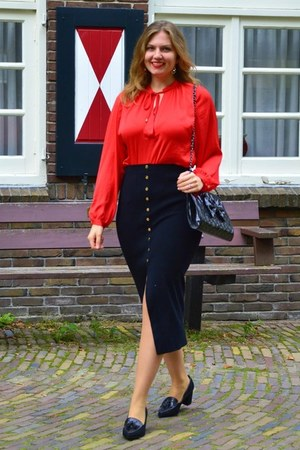black purse - red blouse - black skirt - black pumps - gold earrings