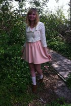 cream lace jacket - dark brown boots - peach dress - white socks