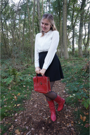 red boots - red purse - black skirt - white blouse