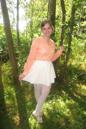 white tights - cream skirt - nude blouse - peach pumps
