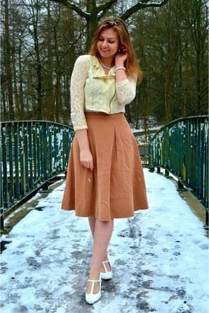 ivory jacket - bronze skirt - white pumps - white necklace - white bracelet