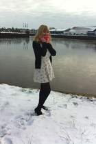 black tights - eggshell dress - scarf - black heels - black cardigan