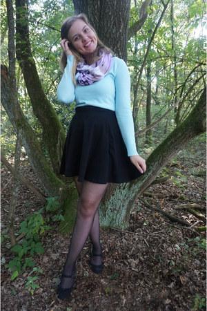 black skirt - sky blue sweater - light purple scarf - black pumps