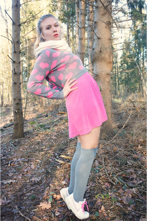 heather gray sweater - bubble gum dress - white scarf - heather gray socks