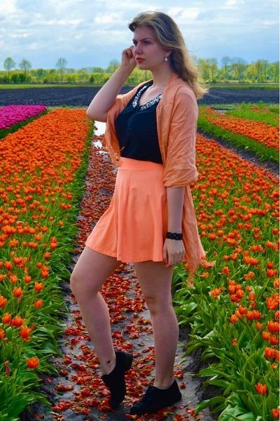 black shoes - light orange scarf - orange skirt - black top - black bracelet